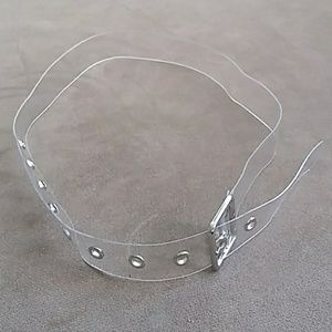 Vintage clear belt with silver buckle and holes